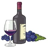 bottle of red wine and grapes