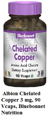 Albion Chelated Copper 3 mg, 90 Vcaps, Bluebonnet Nutrition