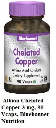 Albion Chelated Copper 3 mg, 90 Vcaps, Bluebonnet Nutrition